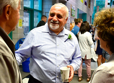 9/25/2018 Mike Orazzi | Staff Retiring head custodian John Mastroianni during the 25th Anniversary Celebration at the Chippens Hill Middle School Tuesday evening.