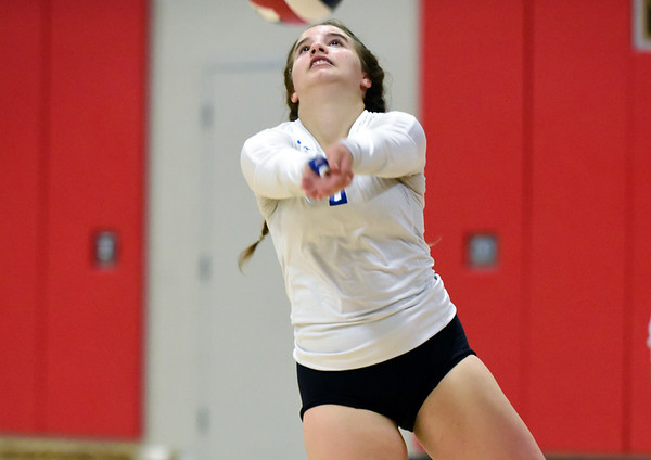 09/26/18 Wesley Bunnell | Staff Berlin volleyball defeated Plainville on Wednesday night at Berlin High School. Plainville's Simona Barbagallo (2).