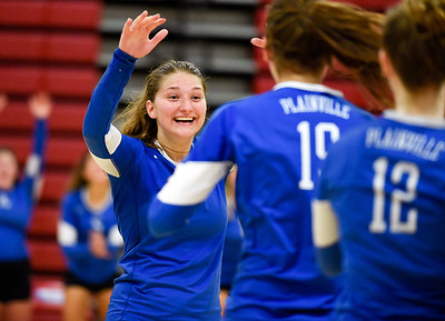 09/26/18  Wesley Bunnell | Staff  Berlin volleyball defeated Plainville on Wednesday night at Berlin High School. Olivia Gajor (15).
