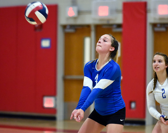 09/26/18 Wesley Bunnell | Staff Berlin volleyball defeated Plainville on Wednesday night at Berlin High School. Victoria Corriveau (4).