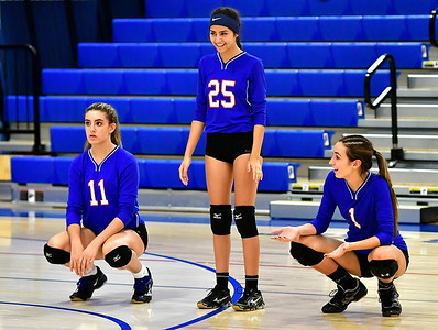 9/27/2018 Mike Orazzi | Staff St. Paul Volleyball's Olivia Genovese (11), Violet Rodriguez  (25) and Juliette Russo (1) Thursday night in Bristol.