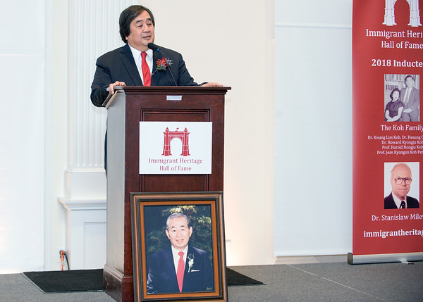 09/27/18 Wesley Bunnell   Staff The Immigrant Heritage Hall of Fame 2018 Gala and Induction Ceremonies was held on Thursday night at The Aqua Turf Club. Prof. Harold Hongju Koh speaks about his father Dr. Kwang Lim Koh who was inducted posthumously.