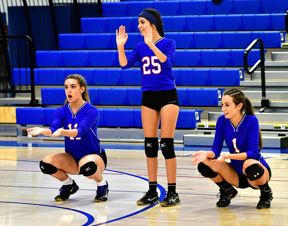 9/27/2018 Mike Orazzi   Staff St. Paul Volleyball's Olivia Genovese (11), Violet Rodriguez (25) and Juliette Russo (1) Thursday night in Bristol.