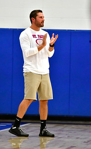 9/27/2018 Mike Orazzi | Staff St. Paul Volleyball Coach Devin Pecevich Thursday night in Bristol.