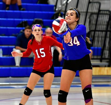 9/27/2018 Mike Orazzi   Staff St. Paul Volleyball's Grace Carabetta (15) and Morgan Kolb (34) Thursday night in Bristol.