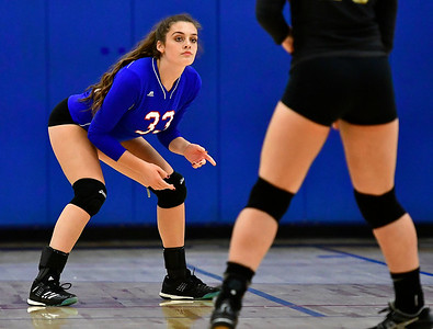 9/27/2018 Mike Orazzi | Staff St. Paul Volleyball's Kelsi Blatchley (33) Thursday night in Bristol.