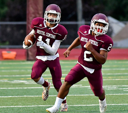 9/28/2018 Mike Orazzi | Staff Bristol Central High School's Jose Navedo (11) and Payton Payton (2) during Friday night's football game at BC.