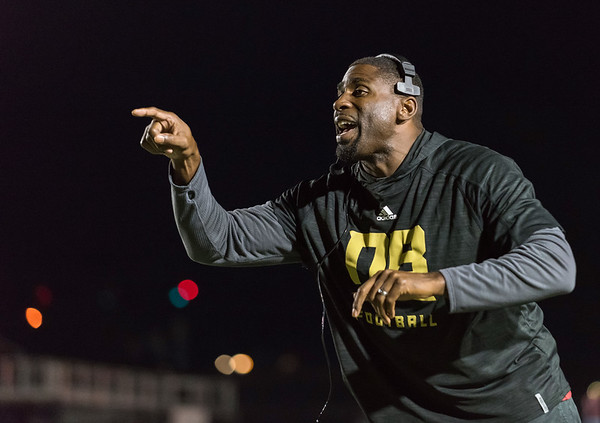 09/28/18 Wesley Bunnell | Staff New Britain football vs Simsbury on Friday night at Veterans Stadium. Head Coach Tebucky Jones takes exception to a call on the field.