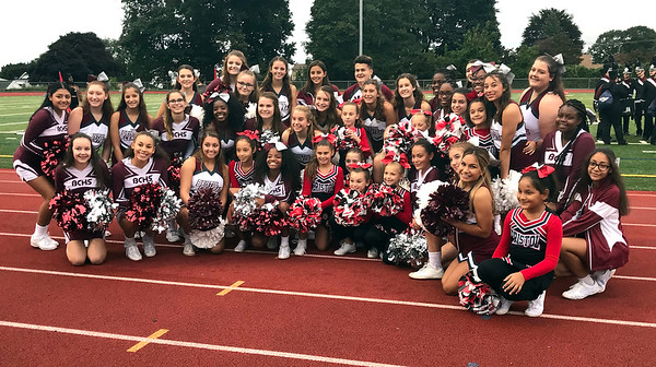 9/28/2018 Mike Orazzi | Staff Bristol Central High School Cheerleaders with the Bristol Bulldog cheerleaders during Friday night's football game with Middletown in Bristol.