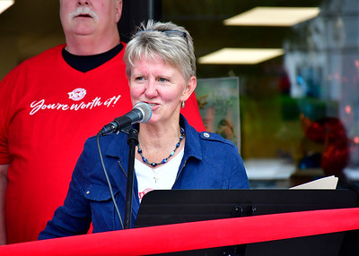 9/28/2018 Mike Orazzi | Staff Dee Dee Mandino during the grand opening ceremony at Dee's Cleaners & Laundromat at 900 Farmington Avenue in Bristol Friday afternoon.