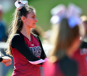 9/29/2018 Mike Orazzi | Staff Farmington High School Cheerleaders during Saturday's football game with Bristol Eastern at FHS.