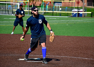 9/29/2018 Mike Orazzi | Staff NBPD's Frank Pergolizzi during the annual charity softball game between the New Britain fire and police departments at Chesley Park. This year, the fire department decided to raise money for New Britain-based Connecticut Breast Health Initiative, an organization that raises money and distributes it to breast cancer-related research and education in the state. CT BHI was picked this year in honor of New Britain Police Department Lt. Julia Gallup, who was diagnosed with breast cancer earlier this year and has been fighting the disease since.