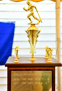 9/29/2018 Mike Orazzi | Staff The trophy for the annual charity softball game between the New Britain fire and police departments at Chesley Park. This year, the fire department decided to raise money for New Britain-based Connecticut Breast Health Initiative, an organization that raises money and distributes it to breast cancer-related research and education in the state. CT BHI was picked this year in honor of New Britain Police Department Lt. Julia Gallup, who was diagnosed with breast cancer earlier this year and has been fighting the disease since.