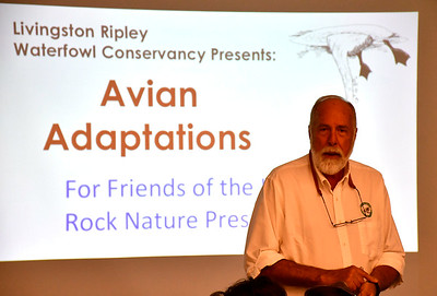 9/29/2018 Mike Orazzi | Staff Livingston Ripley Waterfowl Conservancy's Jay Fields during a presentation on birds at the Indian Rock Nature Center in Bristol Saturday morning.