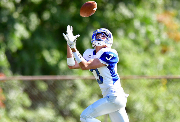 9/29/2018 Mike Orazzi   Staff Bristol Eastern's Elijah Gagliardo (3) catches a TD pass during Saturday's football game at FHS.