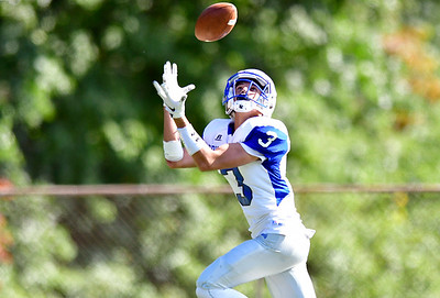 9/29/2018 Mike Orazzi | Staff Bristol Eastern's Elijah Gagliardo (3) catches a TD pass during Saturday's football game at FHS.