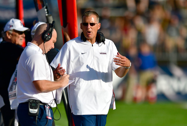 9/29/2018 Mike Orazzi   Staff UConn's Randy Edsall during Saturday football game with Cincinnati.