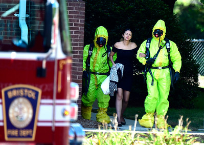 9/5/2018 Mike Orazzi | Staff Emergency crews while investigating the report of a local bank employee finding white powder in an envelope. Police, firefighters and ambulance crews at the First Bristol Federal Credit Union on North Street.