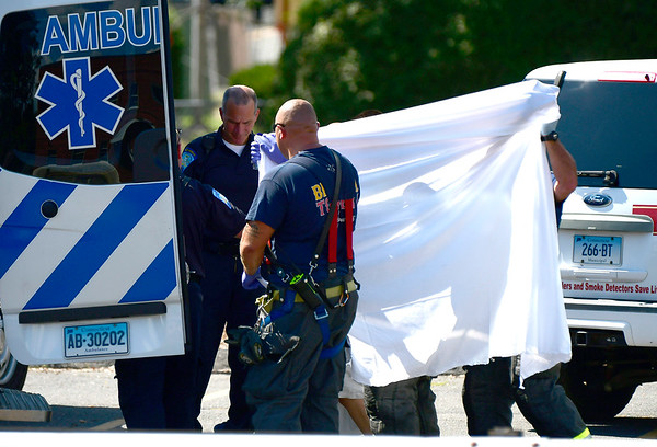 9/5/2018 Mike Orazzi | Staff Emergency crews are investigating the report of a local bank employee finding white powder in an envelope. Police, firefighters and ambulance crews at the First Bristol Federal Credit Union on North Street.