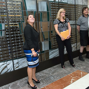 09/05/18  Wesley Bunnell | Staff  Mayor Erin Stewart looks over the main entrance to 233-235 Main St during a tour of CMHA's newest building on Wednesday afternoon. The building will undergo renovations in preparation for CMHA's occupancy which was previously planned for 227 Main St.