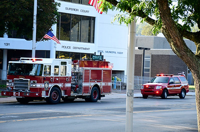 9/6/2018 Mike Orazzi | Staff The Bristol fire department while responding  to a white powder incident at the Bristol police department Wednesday evening.