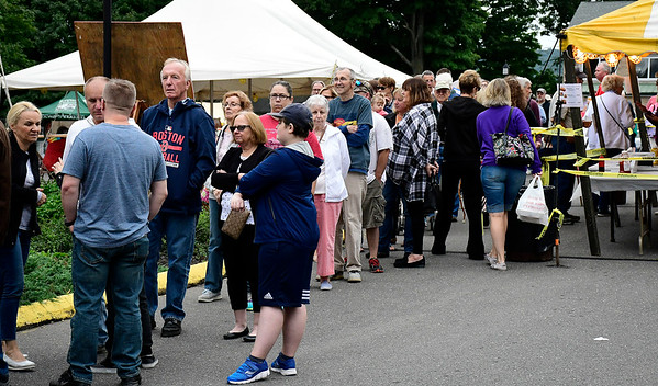 9/8/2018 Mike Orazzi | Staff The food line during Dozynki at St. Stanislaus Church in Bristol Saturday.