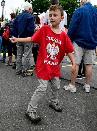 9/8/2018 Mike Orazzi | Staff Drake Szewezyk,7, dances while waiting in the food line during Dozynki at St. Stanislaus Church in Bristol Saturday.