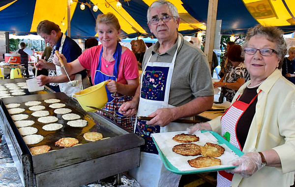 9/8/2018 Mike Orazzi | Staff Potato pancakes being cooked during Dozynki at St. Stanislaus Church in Bristol Saturday.