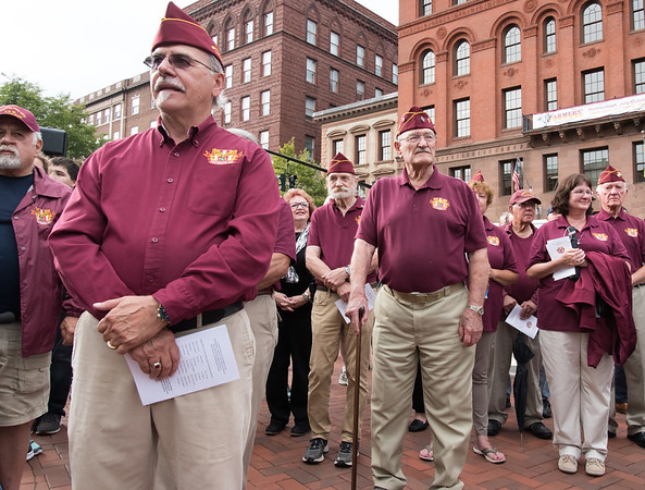 09/11/18 Wesley Bunnell | Staff New Britain unveiled its newest monument in Central Park which is dedicated to the War on Terror following the 9/11 attacks. Members of the Northwestern Veterans T.G.M. Memorial Post including Angelo Dalfonso, L,