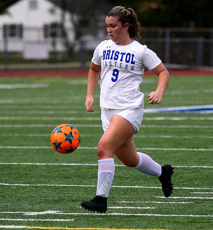 9/11/2018 Mike Orazzi | Staff Bristol Eastern's Myah Croze (9) during Tuesday's soccer with Plainville.