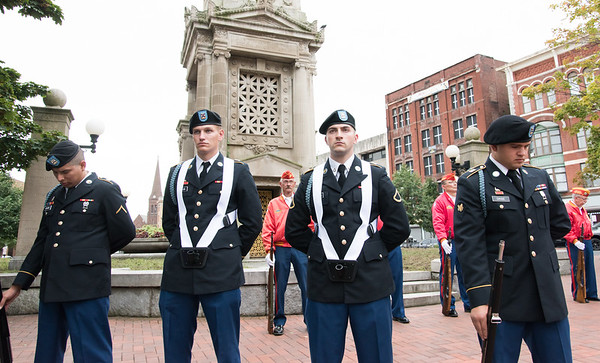 09/11/18 Wesley Bunnell | Staff New Britain unveiled its newest monument in Central Park which is dedicated to the War on Terror following the 9/11 attacks. CT Air National Guard members PFC David Geuser, L, PFC Gregory Gibson-Marquardt, PFC Michael Lozowski and Sgt. Brian Dinse.