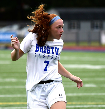 9/11/2018 Mike Orazzi | Staff Bristol Eastern's Lili Morneault (7) during Tuesday's soccer with Plainville.