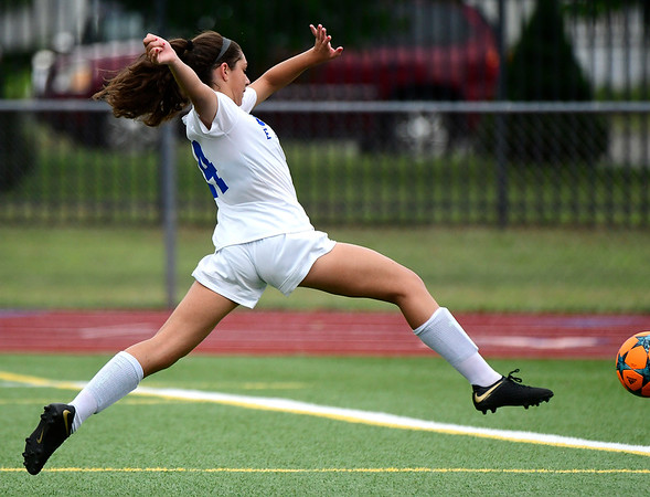 9/11/2018 Mike Orazzi | Staff Bristol Eastern's Kailey Laprise (14) during Tuesday's soccer with Plainville.