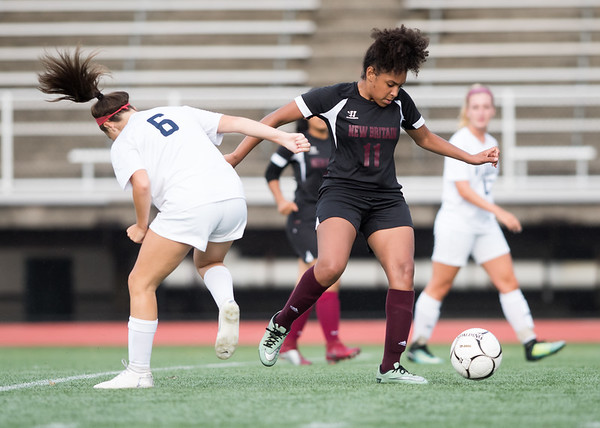 09/11/18 Wesley Bunnell | Staff New Britain girls soccer was defeated by Wethersfield 8-0 on Tuesday afternoon at Veterans Stadium. Adrianna Faienza (11).