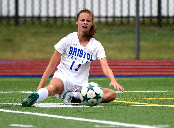 9/11/2018 Mike Orazzi | Staff Bristol Eastern's Ciara Collins (11) during Tuesday's soccer at PHS.