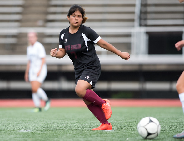 09/11/18 Wesley Bunnell | Staff New Britain girls soccer was defeated by Wethersfield 8-0 on Tuesday afternoon at Veterans Stadium. Kiara Matias (7).