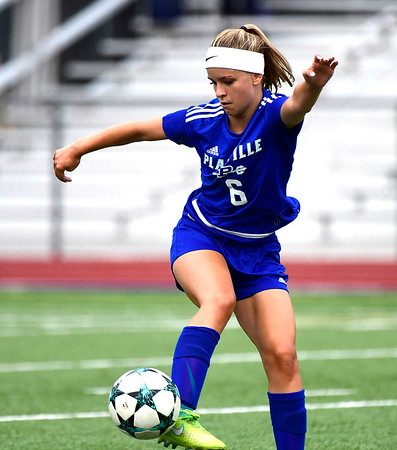 9/11/2018 Mike Orazzi | Staff Plainville's Courtney Ouellette (6)during Tuesday's soccer at Plainville High School.