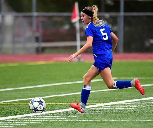 9/11/2018 Mike Orazzi | Staff Plainville's Skyler Ibitz (5) during Tuesday's soccer at Plainville High School.