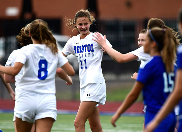 9/11/2018 Mike Orazzi | Staff Bristol Eastern's Ciara Collins (11) after her goal during Tuesday's soccer with Plainville.