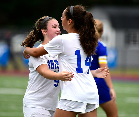 9/11/2018 Mike Orazzi | Staff Bristol Eastern's Myah Croze (9) and Kailey Laprise (14) during Tuesday's soccer at Plainville High School.