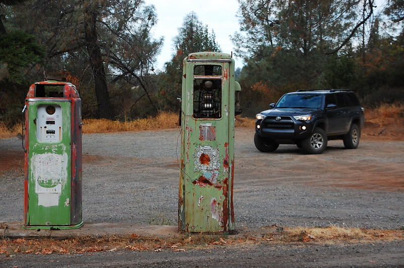 Old gas pumps on Cohasset Ridge Rd.  The one on the left was set at .39 a gallon!