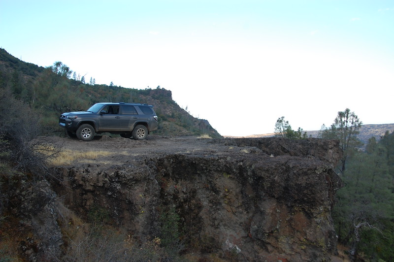 You can get onto some of the bluffs.  Without a spotter this was as far as I was going to back up!  Ponderosa Way, near Chico.