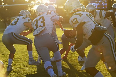 De La Salle warms up before playing Centra Catholic during their game at Central Catholic High School in Modesto, Calif. on Friday, Aug. 30, 2019. (Jose Carlos Fajardo/Bay Area News Group)