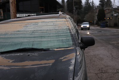 GUERNEVILLE, CALIFORNIA. - MARCH 1: As the Russian River recedes in Guerneville, California, Friday, March 1, 2019, mud rings on cars bear witness to the depth of the flood water. (Karl Mondon/Bay Area News Group)