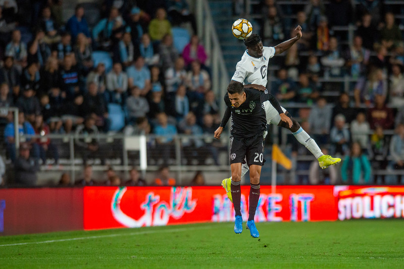 Defender Ike Opara heads the ball at Allianz field in St. Paul on Wednesday, Sept. 19, 2019. (Jack Rodgers / Pioneer Press)