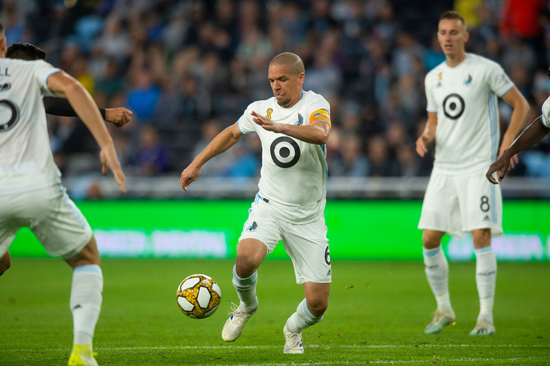 Midfielder Osvaldo Alonso fights for control of the ball at Allianz field in St. Paul on Wednesday, Sept. 19, 2019. (Jack Rodgers / Pioneer Press)