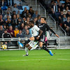 Defender Romain Mentanire fights for the ball at Allianz Field in St. Paul on Wednesday, Sept. 25, 2019. The United defeated Kansas City 2-1 to earn a spot in the playoffs.