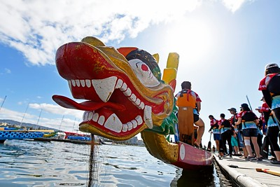 Participants prepare to board their dragon boat before competing during the 24th Annual Northern California International Dragon Boat Festival at Lake Merritt in Oakland, Calif., on Saturday, Sept. 28, 2019. The event is presented by the California Dragon Boat Association. Hundreds of participants from around the country compete in 95 races while paddling in 40-foot dragon boats during the two day event. (Jose Carlos Fajardo/Bay Area News Group)