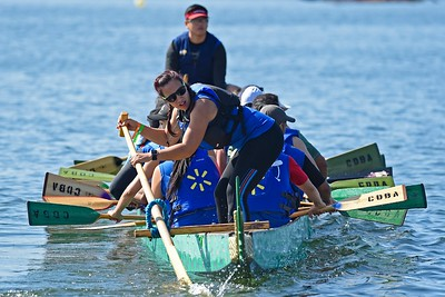 Kyra Bajeera, of San Francisco, with team Wal-Mart helps maneuver their dragon boat back to the dock after competing during the 24th Annual Northern California International Dragon Boat Festival at Lake Merritt in Oakland, Calif., on Saturday, Sept. 28, 2019. The event is presented by the California Dragon Boat Association. Hundreds of participants from around the country compete in 95 races while paddling in 40-foot dragon boats during the two day event. (Jose Carlos Fajardo/Bay Area News Group)