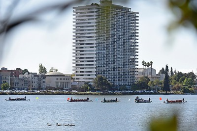 Participants wait at the starting line before competing during the 24th Annual Northern California International Dragon Boat Festival at Lake Merritt in Oakland, Calif., on Saturday, Sept. 28, 2019. The event is presented by the California Dragon Boat Association. Hundreds of participants from around the country compete in 95 races while paddling in 40-foot dragon boats during the two day event. (Jose Carlos Fajardo/Bay Area News Group)